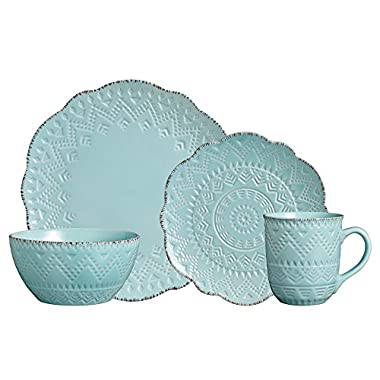 Pfaltzgraff Remembrance Teal 16 Piece Dinnerware Set, Service for 4