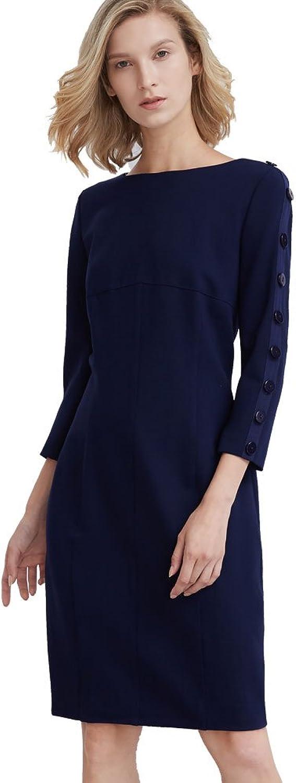 My Bun 2017 Autumn Three Quarter Sleeve Brief bluee Back Zipper Women Plus Size Dress