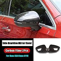 カーアクセサリーバックミラーカバーキャップシェルトリムのためにメルセデスベンツclaクラスC118 CLA180 200 220 250 2020 + 車のスタイリングパーツ-Carbon Fiber