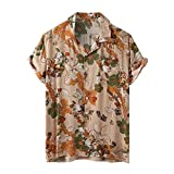 Dasongff Camisa de manga corta para hombre con estampado de Henley para el tiempo libre, para verano, informal, ligera, transpirable, cómoda, aspecto de lino, corte holgado.