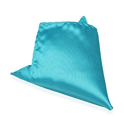 Bluelover 2Pcs Pochette Raso Seta Uomo Vestito Fazzoletto Per Banchetti Matrimonio Hanky-Acid Blue