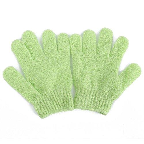 Ultnice Paire de gants de douche, gants exfoliants en nylon pour le corps, gants-brosse de bain pour homme, femme et enfant, vert