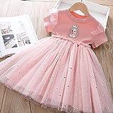 SUNXC Princesa Disfraz Traje Parte Las Niñas Vestido, Vestido de Malla Aisha-Pink_100cm, Niñas Traje Fiesta De Cumpleaños