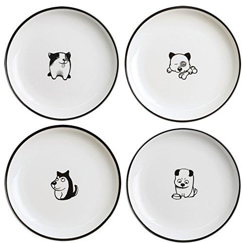 SOCOSY Cute Cartoon Dog Ceramic Seasoning Dishes Sauce Dish Sushi Dipping Bowl Appetizer Plates Tea Bag Holder Serving Dish for Kitchen 5