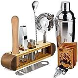 Cocktail-Shaker Barkeeper-Set mit Ständer, 11-teiliges Bar-Werkzeug-Set Cocktail-Set Perfektes Barkeeper-Set für zu Hause und Martini-Shaker-Set für das Mixen von Getränken - Sapele