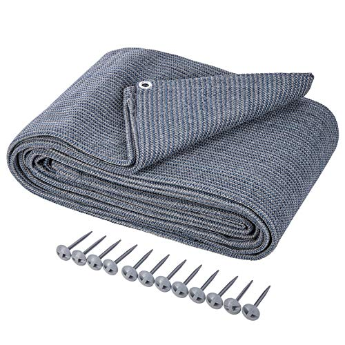 ONVAYA® Alfombra para tienda de campaña | suelo para camping | alfombra de toldo para caravana | alfombra de tienda | alfombra robusta | base lavable para tienda de campaña en azul/gris (250 x 400 cm)