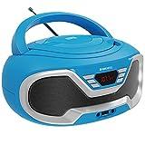 Oakcastle CD200 – Radio stereo portatile con lettore CD, Bluetooth, ingresso AUX da 3,5mm e porta USB, altoparlanti integrati, alimentazione settore/batteria, per adulti e bambini (blu)