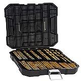 Drill Bit Set - Titanium Metal Drill Bits for Steel, Wood, Plastic, Copper, Aluminum Alloy with Storage Case, 1/16'-3/8' (100 Pieces)