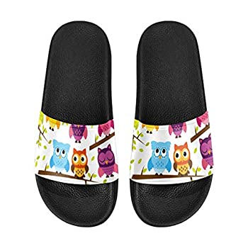 InterestPrint Colorful Owls Standing on Branches Women s Shower Sandals Pool Slide Open Toe 11 B M  US