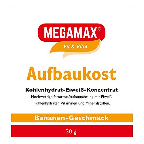 MEGAMAX Aufbaukost Banane 30g- Ideal zur Kräftigung und bei Untergewicht. Proteinpulver zur Zubereitung eines fettarmen Kohlenhydrat-Eiweiß-Getränkes für Muskelmasse u. Muskelaufbau Gewichtszunahme