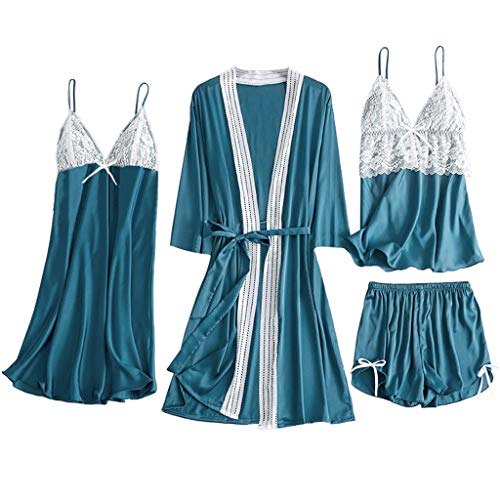 Big Save! Kiminana 4PC Women Lingerie Pajamas Fashion Sexy Comfy Lace Patchwork Camisole +Shorts+Nig...