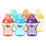 Tommee Tippee Biberons Fiesta, 260ml, Valve Anti-Colique, Tétine Souple, Lot de 6, Multicolores