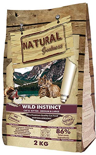 Natural Greatness Pienso seco para Gatos Receta Wild Instinct. Ultra Premium - Cat & Kiiten Medium & Large - Todas Las Razas. 2 kg