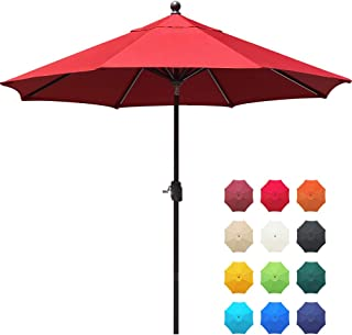 EliteShade Sunbrella 9Ft Market Umbrella Patio Outdoor Table Umbrella with Ventilation and 5 Years Non-Fading Top,Red
