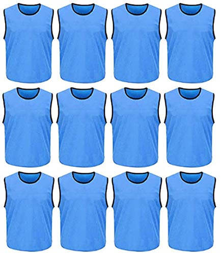 DreamHigh DH Herren Trainingswesten für Fußball-Sportteam, Netzgewebe, 12 Stück - Blau - Einheitsgröße