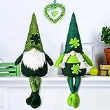 2 Gnomos de San Patricio Tomte Duende Sueco de Peluche Figura de Elfo Nórdico Adorno Casero Escandinavo Hecho a Mano de Navidad Decoración de Enana Elfo de Trébol para Primavera Irlandés