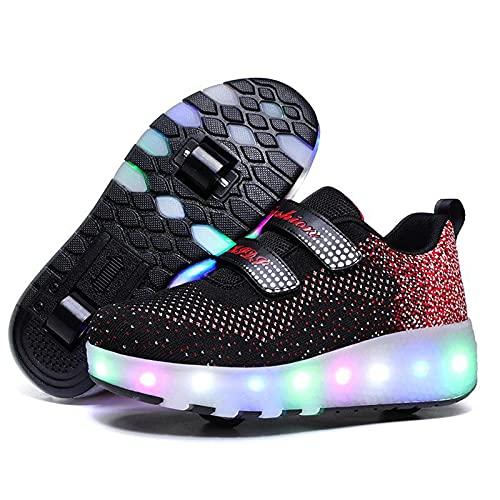 AMXSML Patines LED de carga USB de moda de los entrenadores de patín parpadeante zapatilla de deporte extraíble zapatos al aire libre Cross Sport Trainer, negro 1,30EU