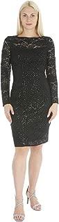 Marina Women's Long Sleeve Sequin Shimmer Flower Lace Dress