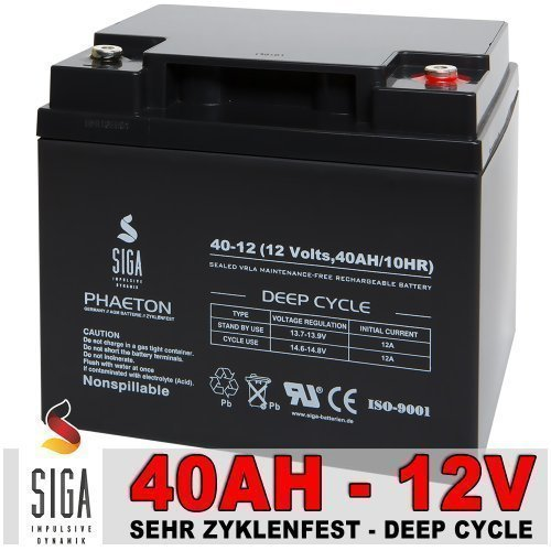 Akku 40Ah 12V AGM Gel Batterie Solarbatterie Modellbau Elektromobil Golf Caddy Trolley Boot 45Ah 12Volt