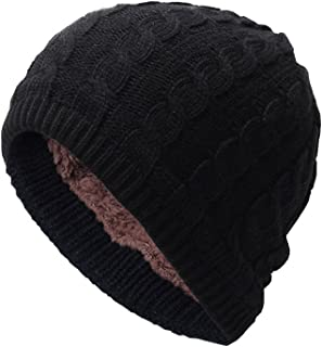 E Support Unsex Winter Slouchy Warm Cap Men's Knit Thicken with Fleece Lining Beanie Hat