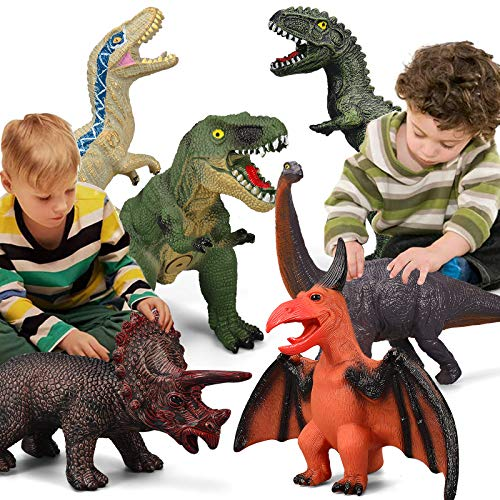 6 Piece Jumbo Dinosaur Toys for Kids and Toddlers,Jurassic world Blue Dinosaur T-Rex Triceratops, Large Soft Dinosaur Toys Set for Dinosaur Lovers - Perfect Dinosaur Party Favors, Birthday Gifts