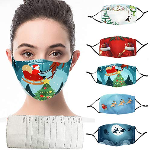 2020 Christmas dustMask-5 Pcs Adults Face clothMask Bandanas,Christmas Printed Face Protection,Breathable Dustproof Washable Windproof Decorations Xmas Accessories for men women for Outdoor Indoor