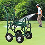 Best Patio Lawn Garden Hose Reel Cart with Wheels for Outdoor Yard Water Planting Truck Heavy Duty Water Planting Gardening & Lawn Care Patio Lawn Garden Watering Equipment Cart - Green