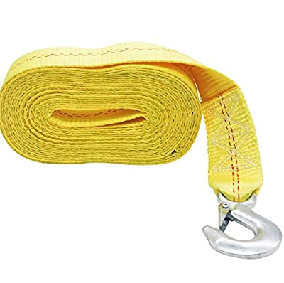 OPENROAD Yellow 6m Boat Trailer Winch Strap,2 inch Hand Winch Strap with Hook,20ft Winch Strap for 4500-10000lbs Manual Crank Winch or ATV/UTV Winch