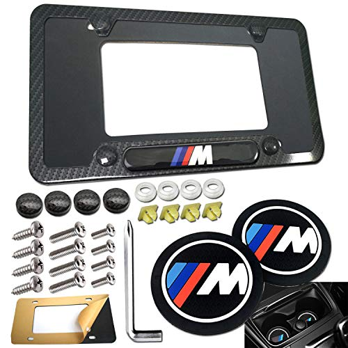 Carbon Fiber License Plate Frame- BMW M Logo Black Aluminum Car Tag Cover, Personalized Holder for Front /Rear with Stainless Steel Lock Screws Bolts, Caps, Gift Accessories-Silicone Car Coasters