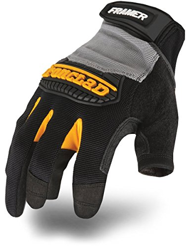 Ironclad Framer Work Gloves FUG, High Dexterity, Performance Fit, Durable, Machine Washable, Sized S, M, L, XL, XXL (1 Pair), Grey/Black
