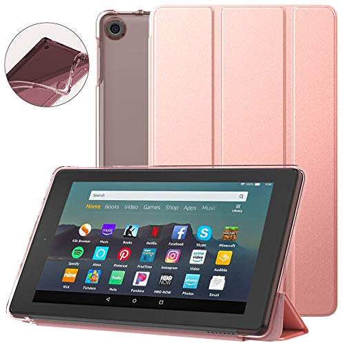 Dadanism All-New Amazon Kindle Fire 7 Tablet Case (9th Generation, 2019 Release), [Flexible TPU Translucent Back Shell] Ultra Slim Lightweight Trifold Stand Cover with Auto Sleep/Wake - Rose Gold