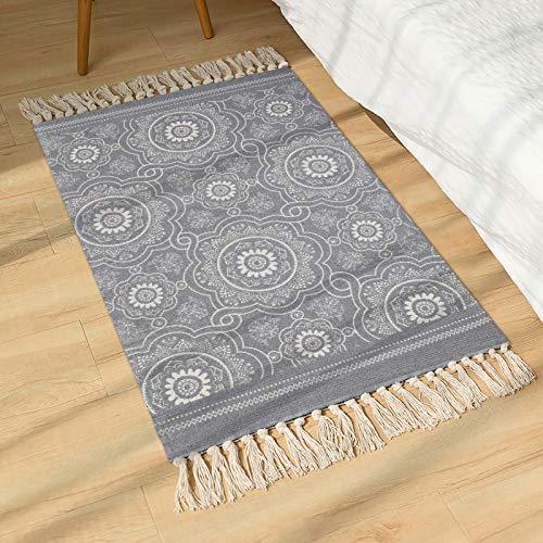 SHACOS Handgewebte Terrassen Teppiche Mandala mit Quasten Vintage Baumwollteppiche Waschbar Grau Ideal für Eingangstür, Küche, Keller usw. 60 x 90 cm
