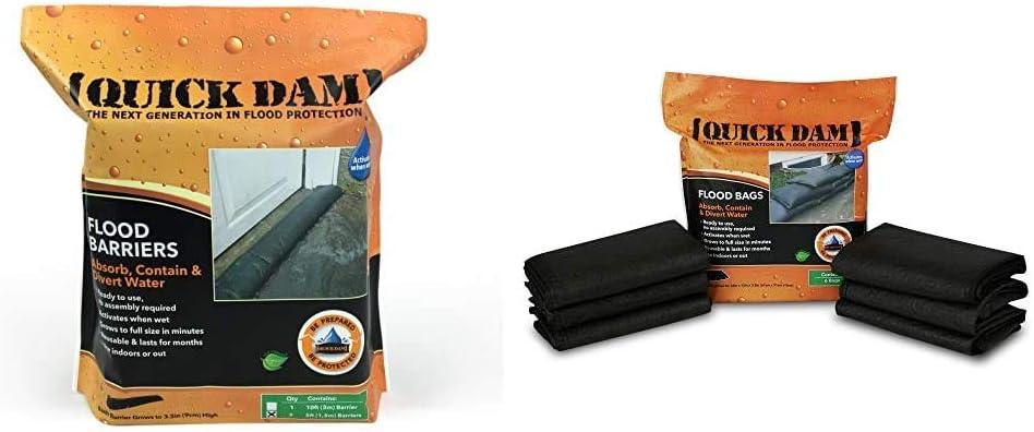 Quick Dam QD65-2 5' Barrier Water Flood Pack スーパーセール Bags Black 信用 2