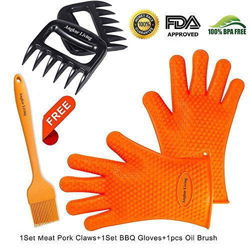 ANGKOR LIVING Silicone BBQ Gloves Set and BBQ Accessories Kit – Meat Shredder, Bear Claws and Basting Brush