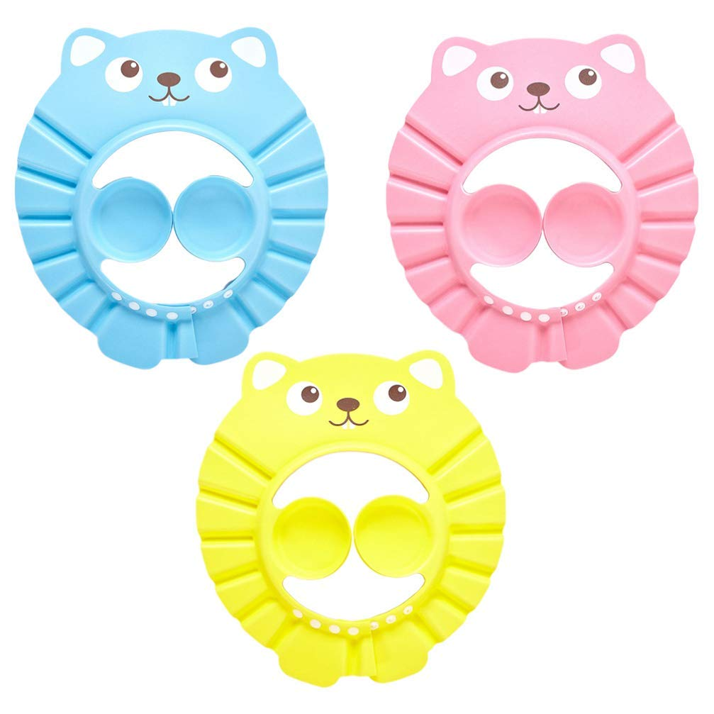 3 Pack Baby Shower Cap Bathing Cap, Soft Adjustable Kids Shampoo Shower Bathing Cap with Ear Protection