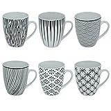CREOFANT Juego de 6 tazas de café de 350 ml, de gres (blanco y negro)