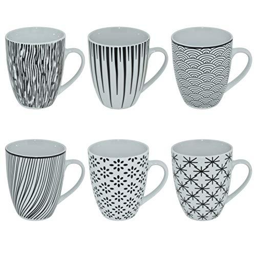 CREOFANT 6 teiliges Kaffeetassenset 350ml Steingut-Tassen Trink-Becher Teepot für Heiß-Getränke (schwarz weiß)