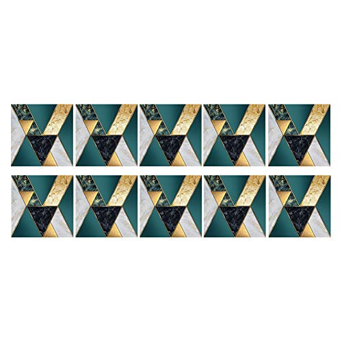 Papel pintado con diseño de mosaico, 10 unidades, impermeable, pegatinas para pared, pegatinas para suelo de cocina, pegatinas geométricas (TS231)