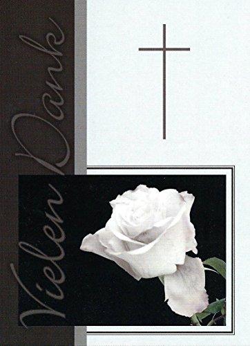 Trauer Danksagungskarten Trauerkarten mit Innentext Motiv Rose Kreuz 15 Klappkarten DIN A6 mit weißen Umschlägen im Set Dankeskarten Dankeschön Karten Kuvert Danke sagen Beileid (K59)