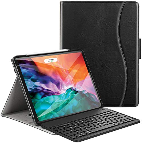 Ztotops Tastatur Hülle für iPad Pro 12.9 2020(4.Generation),Premium Leder Schützhülle mit Bluetooth Abnehmbare QWERTZ Tastatur, für iPad Pro 12,9 2020 Tablet,Schwarz