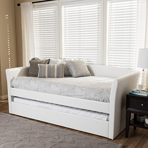 Baxton Studio Camino Modern and Contemporary White Faux Leather Upholstered Daybed with Guest Trundle Bed