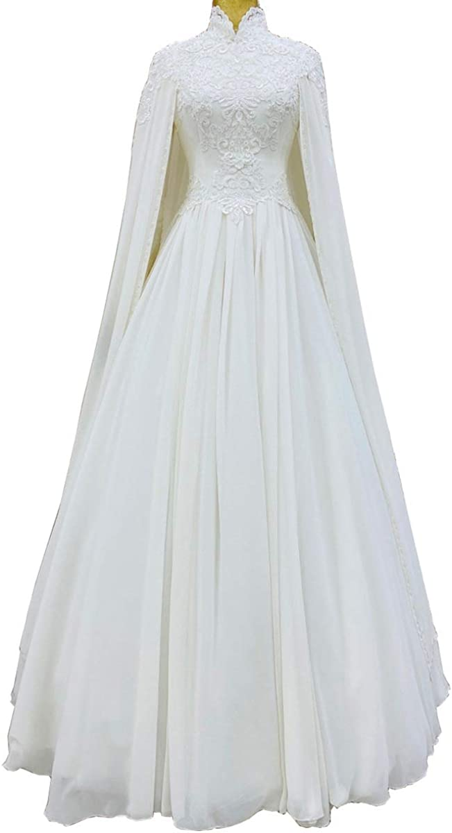 CCBubble Wedding Dress with Cape for Bride Lace Appliques Chiffon Muslim Wedding Bridal Gowns for Women