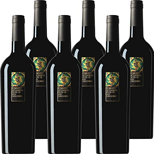Aglianico Feudi San Gregorio | Rubrato | Confezione 6 Bottiglie 75 Cl | I Vini Rossi della Campania | Idea Regalo