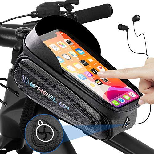 lepeiqi Compatible Bolsa Manillar con Soporte Móvil para Telefono Bicicleta, Bolsa Bici Impermeable y con Ventana para Pantalla Táctil, para Cuadro Bicicleta Montaña para Smartphones de hasta 7'