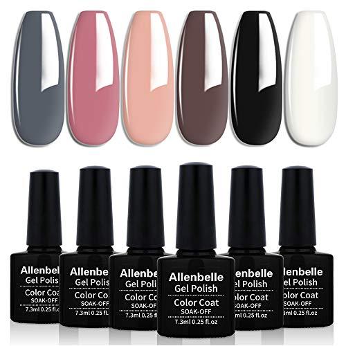Allenbelle Smalto Semipermanente Camaleonte Nail Polish UV LED Gel Unghie (Kit di 6 pcs 7.3ML/pc) 013