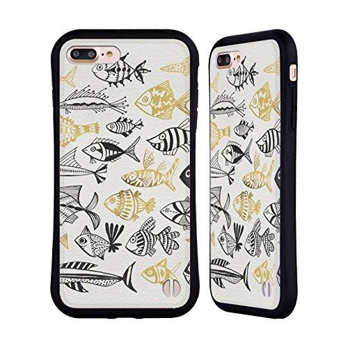 Head Case Designs Oficial Cat Coquillette Pescado Inkings Oro Negro Mar 2 Carcasa híbrida Compatible con Apple iPhone 7 Plus/iPhone 8 Plus