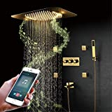 Set de Ducha de Baño Frío y Caliente Sistemas de Ducha de Lujo Gold Lujoso Cabezal de Ducha Tipo Lluvia Empotrado Juego de Ducha de Lluvia para Grifos de Baño Ducha Empotrada LED,Mobile Phone Control