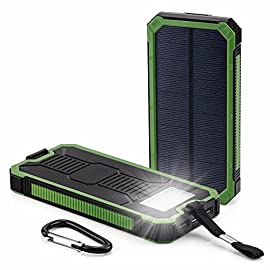 Solar Charger 30,000mAh, HaloAura Portable Dual USB Solar Battery Charger External Battery Pack Phone Charger Power Bank with Flashlight for Smartphones Tablet Camera(Green) 3 <p>Durable & Light Weight: Lightest solar charger on the market(7.4oz). Extra heavy duty hanger included, easy to hang on your backpack, perfect for camping, hiking and various outdoor activities. Premium battery cells: Circuit guard technology prevents short circuits, over-heating, over-discharging and over-charging. Great Capacity 30000mAh & Powerful 6 LED Flashlight: Supports Dual USB Output with 2 5V/2A Max output ports, supports dual charging High Quality LED Flashlight With Three Modes available(Normal /SOS /Strobe), Convenient To Control With One Button. SOS Mode Is Specially Designed For Emergency Use. ShockProof: Durable Silicone exterior protects Solar battery cells from damage. Mountaineer Approved! Environmentally Safe: Made of eco-friendly silicone rubber and ABS material, QC-BIO certified, reliable and durable. Kindly noted that it's comparatively slow to recharge the battery via solar power due to limited solar panel, please do not take solar charger as main power source. Please kindly contact us anytime when you meet trouble with our Solar Phone Charger !</p>