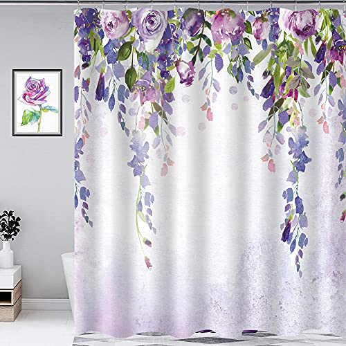 Homewelle Wisteria Floral Shower Curtain Purple Flower Weeping Blossom Vine Paintings Waterproof 60Wx71L Inch Green Leaves Living Room Home Decor 12 Pack Shower Hooks Polyester Fabric Bathroom Bathtub