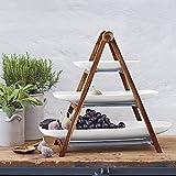 Villeroy & Boch - Artesano Original Etagere, 4tlg., 55 x 22,5 x 48,5 cm, 3-stöckige Etagere aus Naturmaterialien, Premium Porzellan/Naturschiefer/Holz - 2
